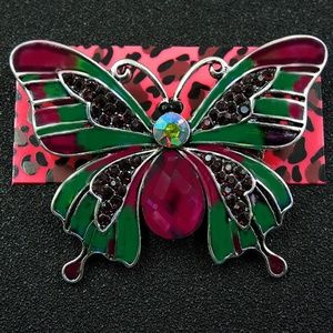 Betsey Johnson Rhinestone Purple Butterfly Brooch